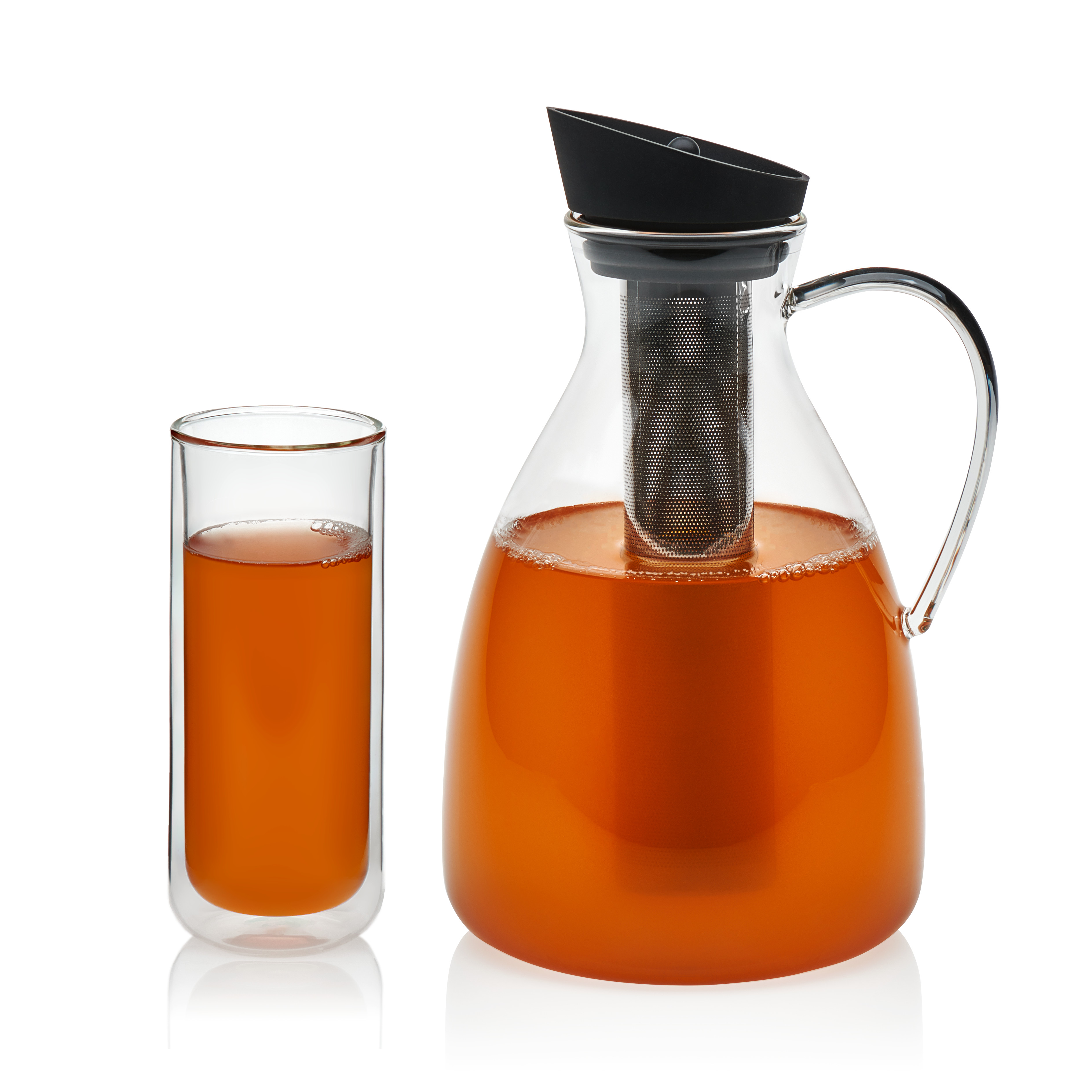 VIVA Scandinavia Infusion Glass Iced Tea Carafe and Classic Double Walled Tall Drinkware Set, 12-ounce Double Walled Glasses & 74-ounce Iced Tea Carafe, Borosilicate (Set of 5)