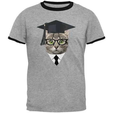 Graduation Funny Cat Mens Ringer T Shirt