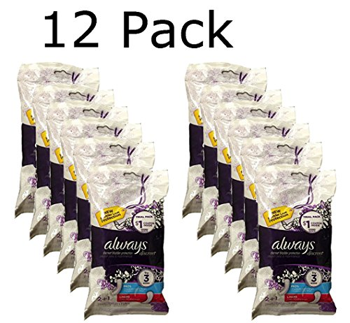 Always Discreet Incontinence Pad and Liner combo pack. 12 pack, 36 Count Total