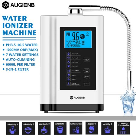 Water Ionizer Purifier Machine, AUGIENB 7 Water Settings Alkaline Acid Machine PH 3.5-10.5 / Up to -500mV ORP / 6000 Liters Per Filter / Auto Cleaning Water Purifier / Touch Contro