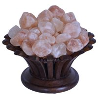 Salt Gems Himalayan Salt Lamp with Natural Rock Salt Chunks in Rosewood Flower Shape Basket, 6 ~ 8 LB, 8 Inch and Electric-Cord Included