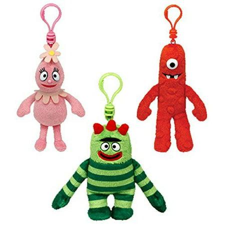 Ty Beanie Babies  Yo Gabba Gabba (Foofa, Brobee, Muno) Soft Plush Clip Keychain 3 Piece Set