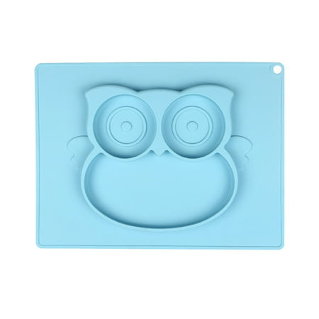 Baby High Chair Feeding Tray Square Silicone Sucking Owl Placemats Children, Children, Toddlers, Kitchen Table Built-in Plates and Bowls