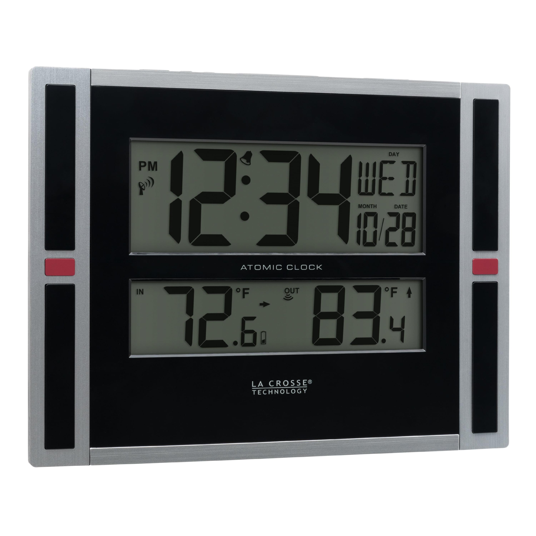 Digital Wall Clock Atomic Outdoor Temperature Automatic Daylight Savings Large