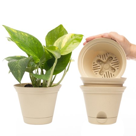 Misco (4 Pack) 5.2 Inch Plant Spa Flared Self Watering Planter Indoor Outdoor Planters Flower Pot