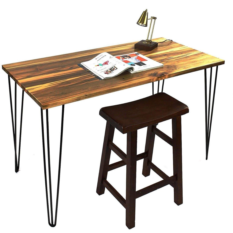 "22"" Hairpin Legs [Satin Black] - Leg Protectors(4) + Screws(20) [Set of 4] - Metal Legs - Coffee Table Legs - Desk Legs - Furniture Legs - Mid Century Modern"