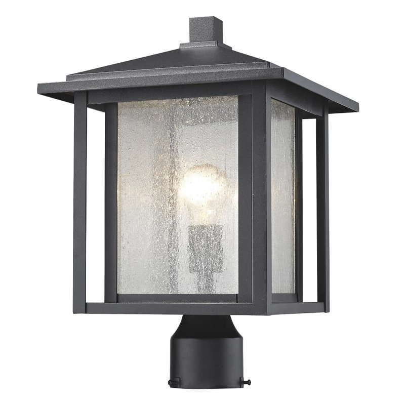 Z-Lite Aspen Outdoor Post Lantern in Clear and Black