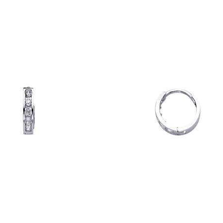 14K White Gold Huggies Simulated Diamonds CZ Hoop Round Earrings 2mm Thick by 10mm Height
