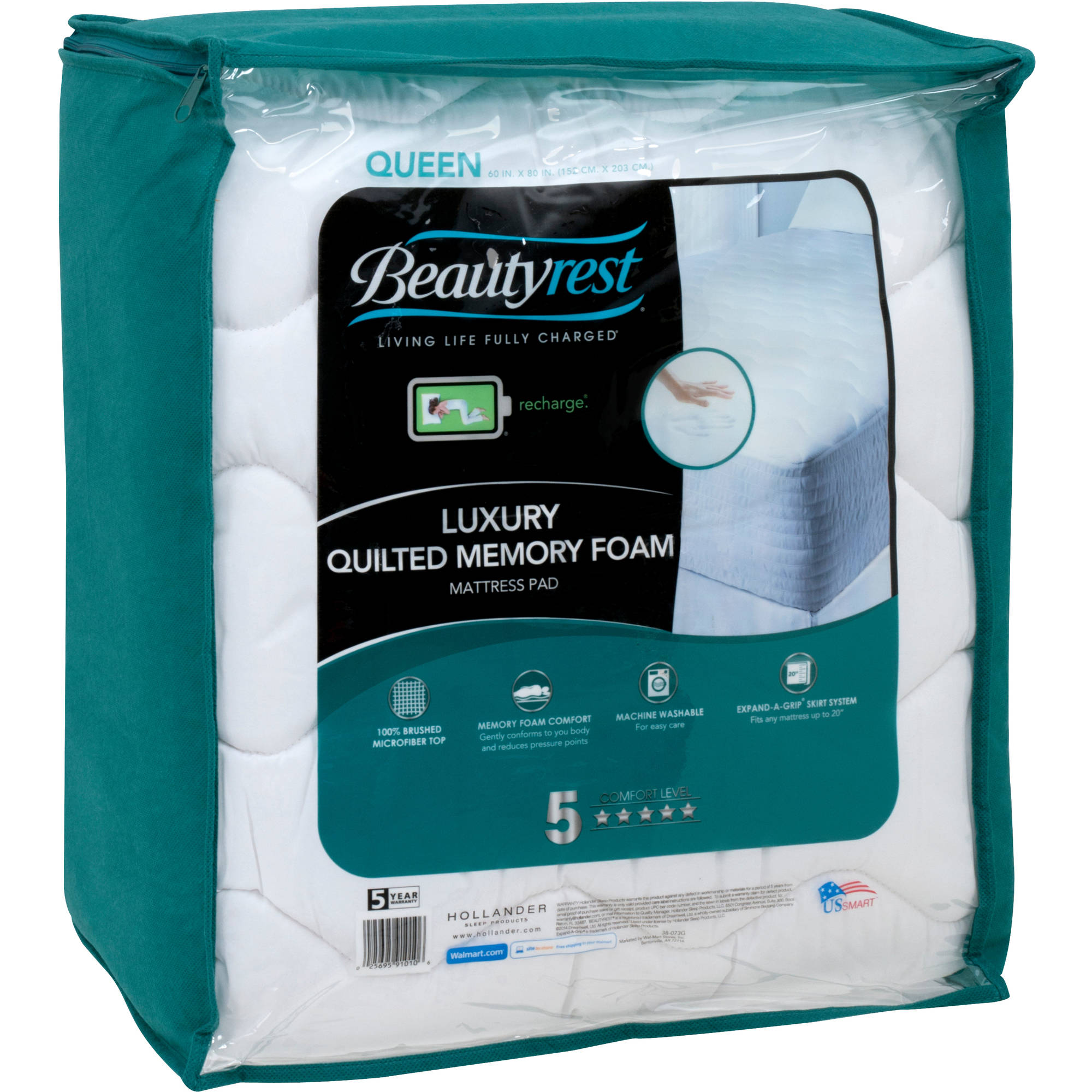 Beautyrest Quilted Memory Foam Mattress Pad in Multiple Sizes