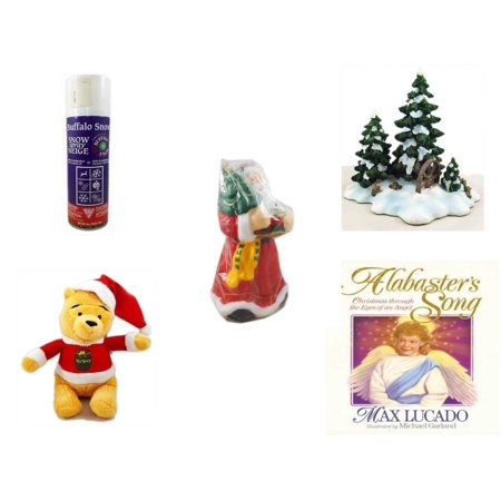 Christmas Fun Gift Bundle [5 Piece] - Buffalo Snow Spray Snow 9 oz. - Dept. 56 Village Accessory Wagonwheel Pine Grove - Wax Santa Candle 7