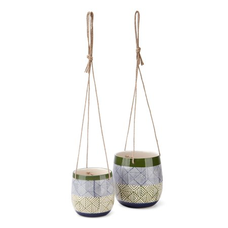 Imax Set Of 2 Basim Hanging Ceramic Planters Z26400-2 ()