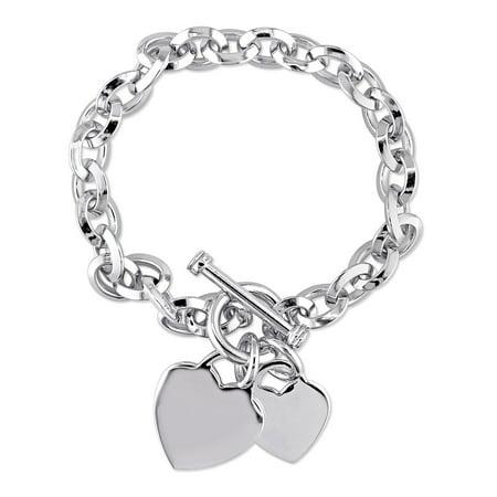 Sterling Silver Double Heart Charm Bracelet, 7.5