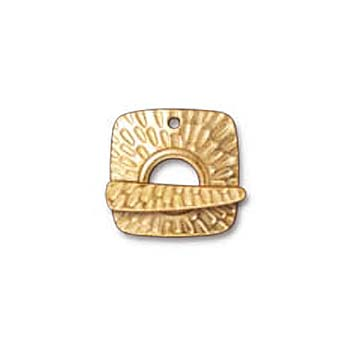 22K Gold Plated Pewter Textured Radiant Toggle Clasp 22mm (1)