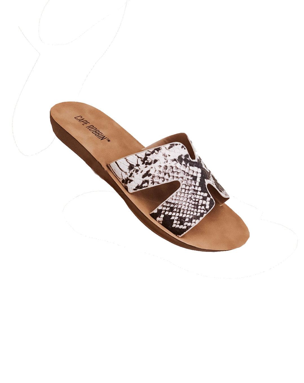 Cape Robbin Everyday Print Leopard Greece Cutout Cultured Slip-on Slide Sandals