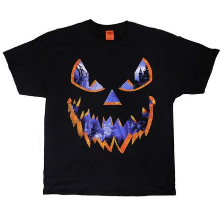 Mens Black Jack-O-Lantern Graveyard Halloween T-Shirt Haunted Pumpkin Tee