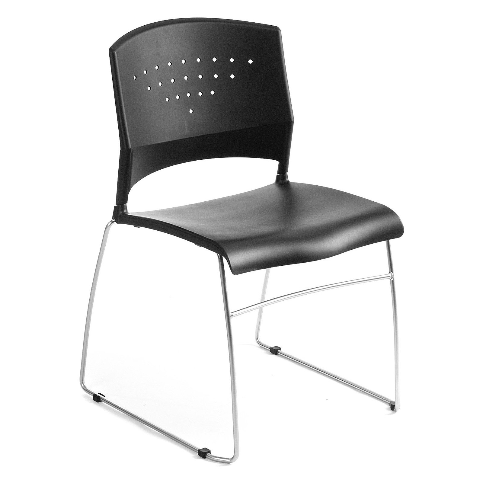 Boss Office Products Black Stack Chair With Chrome Frame, 1Pc Pack