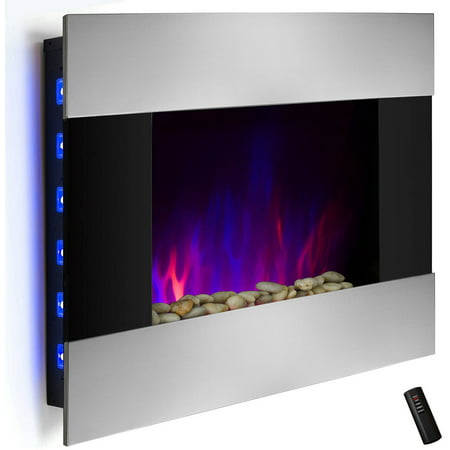 Akdy Fp0048 36 1500w Wall Mount Electric Fireplace Heater With Tempered Gl Pebbles