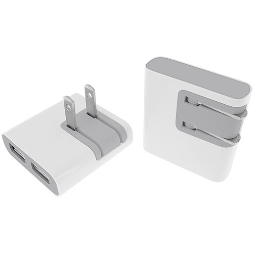 Macally Foldable Dual USB Wall Charger for iPhone 4