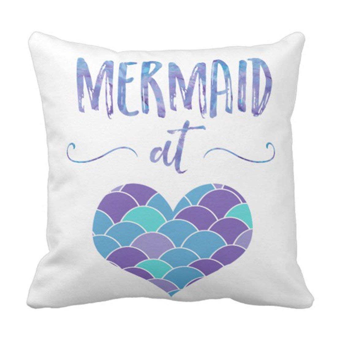WOPOP Blue Saying Cute Purple and Teal Mermaid at Green Scales Pillowcase Cushion Cover 18x18 inches