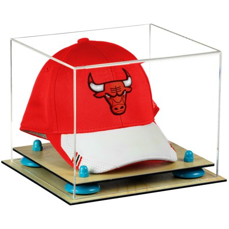 Acrylic Display Case Wood Base - Deluxe Clear Acrylic Basketball Hat or Cap Display Case with Blue Risers and Wood Base (A006-BLR)