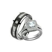 His Hers Cz Halo and Black Titanium Wedding Engagement Ring Set