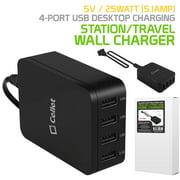 Cellet 5 Volt / 25 Watt (5.1-Amp) 4-Port USB Desktop Charging Station/Travel Wall Charger, Black