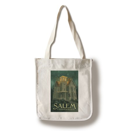 Salem, Massachusetts - Haunted House - Halloween Oil Painting - Lantern Press Artwork (100% Cotton Tote Bag - Reusable)