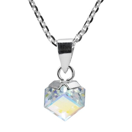 Gleaming Mirror Fashion Crystal Cube Prism .925 Sterling Silver Pendant Necklace
