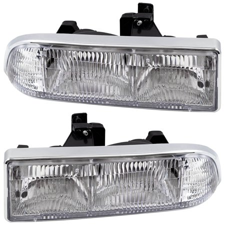 BROCK Headlights Headlamps Driver and Passenger Replacements for 98-05  Chevrolet S10 Pickup Truck Blazer SUV 16526217 16526218