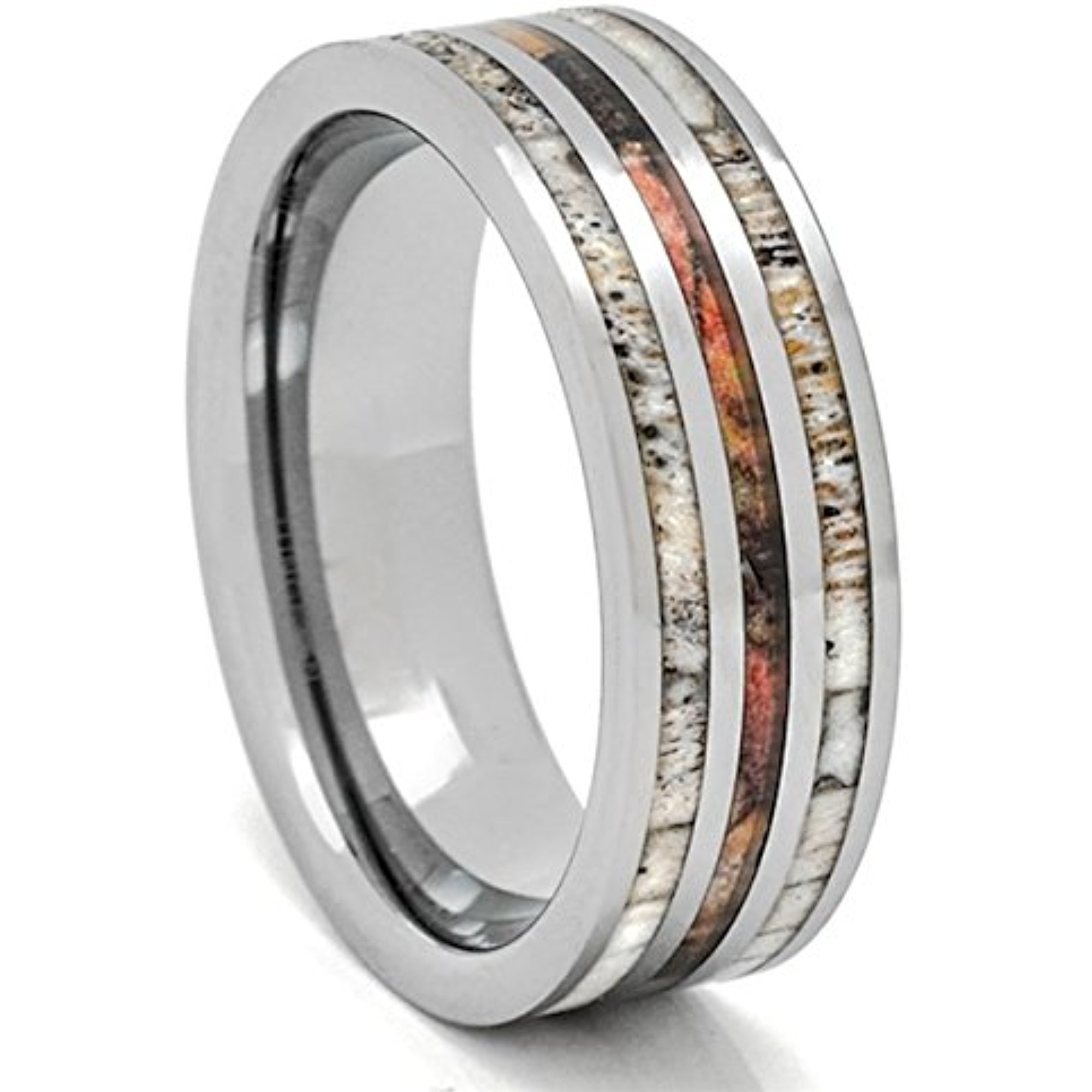 Deer Antler Ring with Camouflage 8mm Tungsten 3 Row Mens Wedding Band Comfort Fit (8)