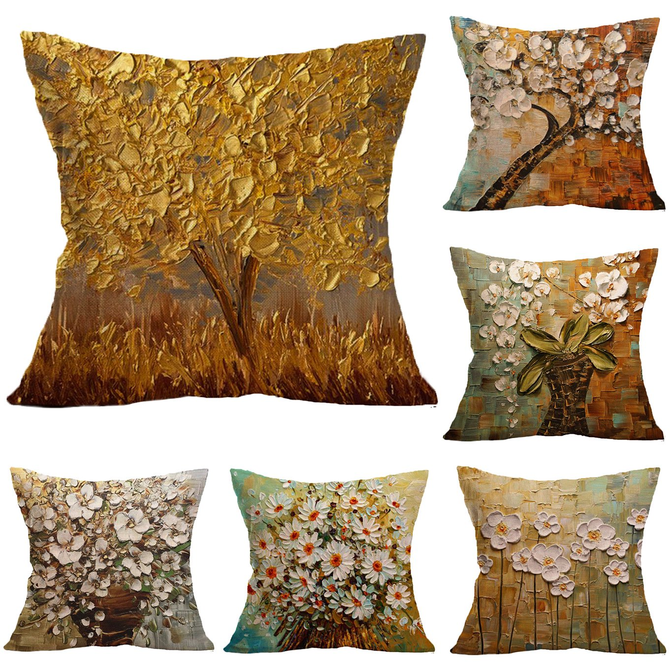 Decorative Throw Pillow Covers 18x18 Inches Flower Linen Pillow