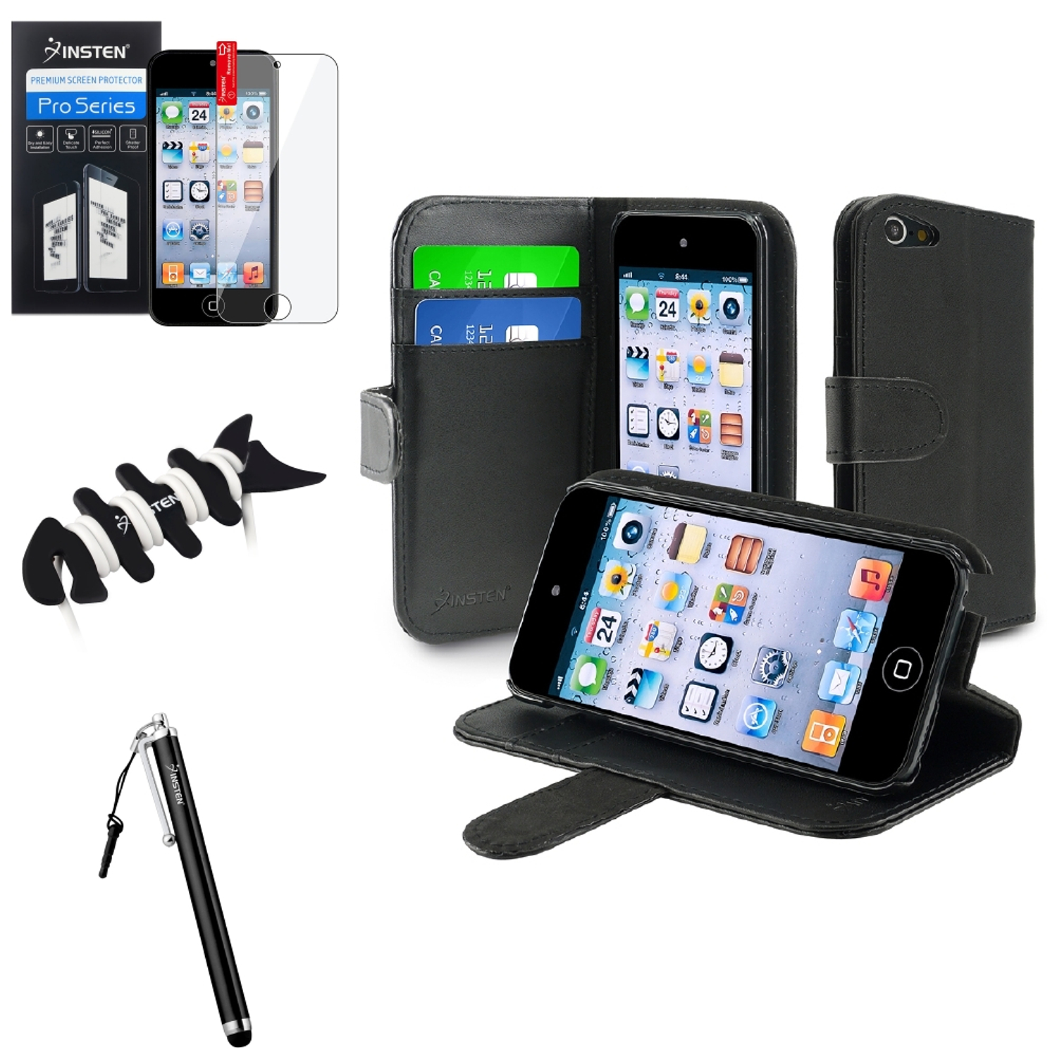 Insten Black Wallet Leather Case w/Card Holder+SP+Pen For Apple iPod Touch 6 6G 5 5G +Fishbone Wrap