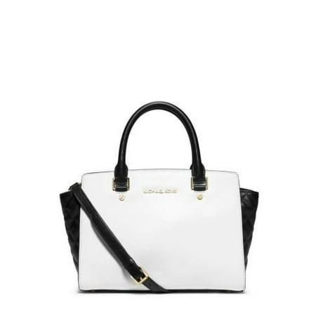 Michael Kors Selma Medium Color Block Satchel Optic White Black Quilted Leather Bag