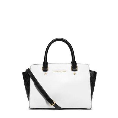 Medium Quilted Purse Set (Michael Kors Selma Medium Color Block Satchel Optic White Black Quilted Leather Bag)