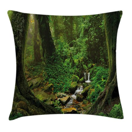 Nature Decor Throw Pillow Cushion Cover, Wonderland Forest Nepal Asian Jungle Rainforests Habitat Wild Primeval Picture, Decorative Square Accent Pillow Case, 16 X 16 Inches, Green, by - Wild Wonderland