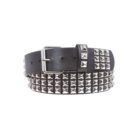 - Snap On Three Row Punk Rock Star Metal Silver Studded Full Grain Cowhide Leather Belt