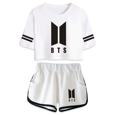 Fancyleo BTS Abum Yourself Kpop Summer Suit Shorts and T-Shirts Women Fit Hip Hop style Casual Clothing (Discount Clothing Coupons)