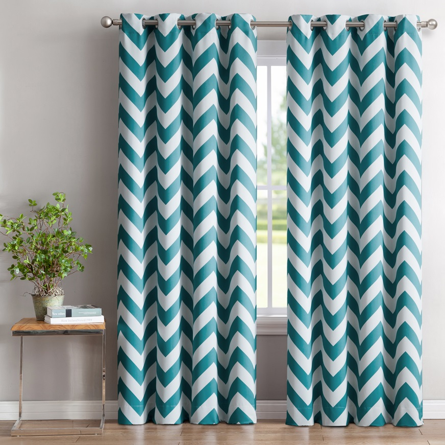 Good ME Chevron Print Thermal Insulated Blackout Window Curtain Panels, Pair,  Chrome Grommet