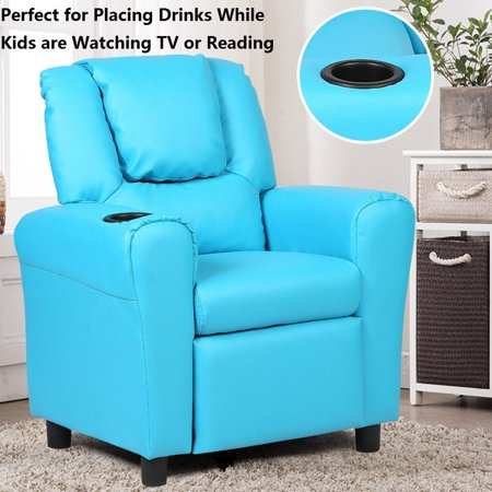 Kids Recliner Armchair Sofa Chair Couch Seat w/ Cup Holder Home Furniture Blue - image 5 de 10