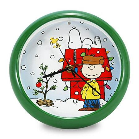Mark Feldstein PNXD8 Peanuts Holiday Dog House Clock, 8-Inch