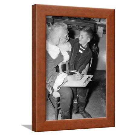Original Lap Frame - Boy Seated on Santa's Lap Framed Print Wall Art By Philip Gendreau