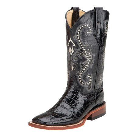 Ferrini Western Boots Womens Gator Print Exotic Cowboy Black 90793-04