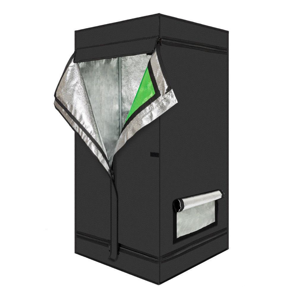 "GHP 24""x24""x48"" Iron Frame Black Oxford Cloth Hydroponic Plant Growing Tent w Window"