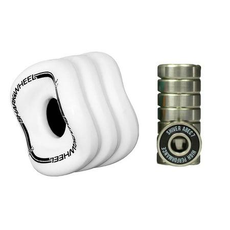 Shark Wheel Sidewinder 70mm 78A Skateboard Wheels, White + 8 Abec 7 Bearings - image 7 of 7
