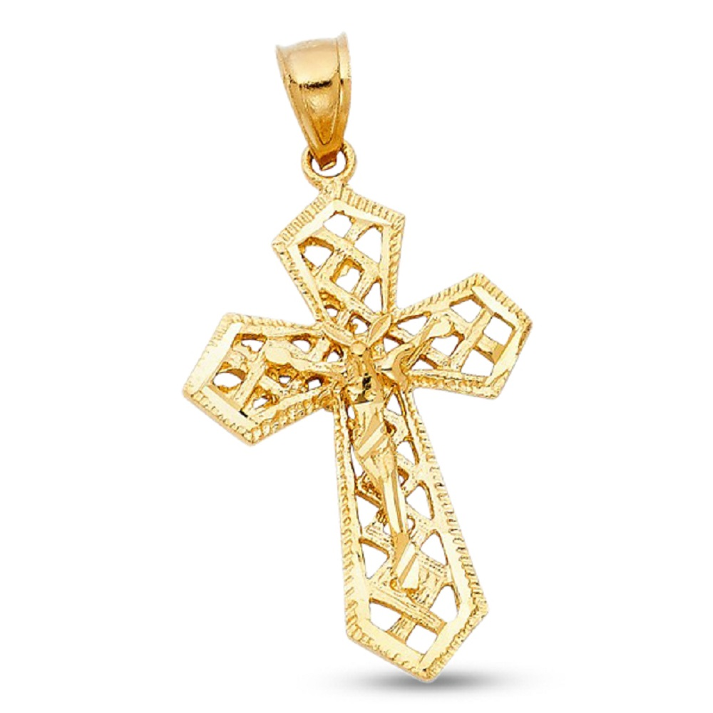 14K Solid Yellow Gold Polished Cross Pendant Charm