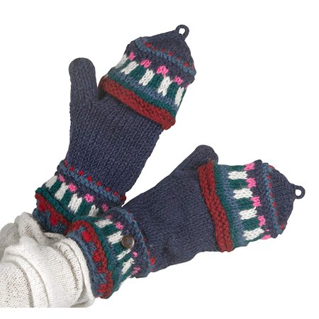 Soft Pure Wool Warm Winter Convertible Gloves Mittens Snow Fleece Windproof Merino Arm Warmer Blue