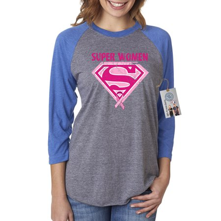 f6ab46a2 Custom Apparel R Us - Breast Cancer Awareness Superwoman Womens 3/4 Raglan  Sleeve T-Shirt Top - Walmart.com