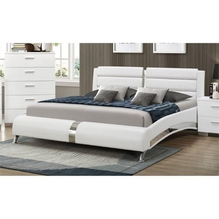 Bowery Hill California King Faux Leather Bed in White