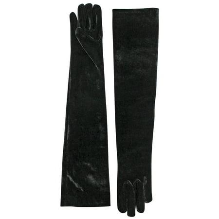 Velvet Black Long 3/4 Opera Arm Length Evening Gloves - Evening Gloves