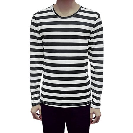 Men's Long Sleeves Round Neck Stripes Casual T-Shirt Black M